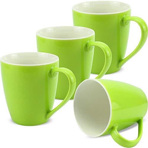 matches21 Tassen Becher Kaffeetassen Kaffeebecher Unifarben/einfarbig kiwigrün hellgrün Porzellan 4 Stk. 10 cm / 350 ml