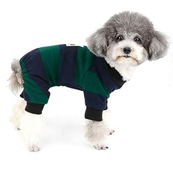 Zunea Pyjama pour Petit Chien Hiver Chaud Manteau Combinaison en Tricot Pull-Overs pour Chiot Vêtements 4 Pattes Rayé Coton Pyjama par Temps Froid pour Chihuahua Yorkshire Vert XL