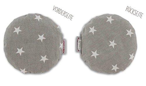 HOBEA-Germany Kirschkernkissen Wärmekissen Körnerkissen für Babys rund in verschiedenen Designs, Modell:grau mit weißen Sternen