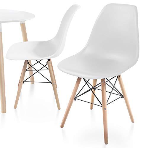 MIADOMODO Esszimmerstühle 2er 4er 6er 8er Set - Küchenstuhl im skandinavischen Stil aus Kunststoff, Metall & Massivholz, Farbwahl - Vintage, Retro Design, Wohnzimmerstühle, Lounge (2er, Weiß)