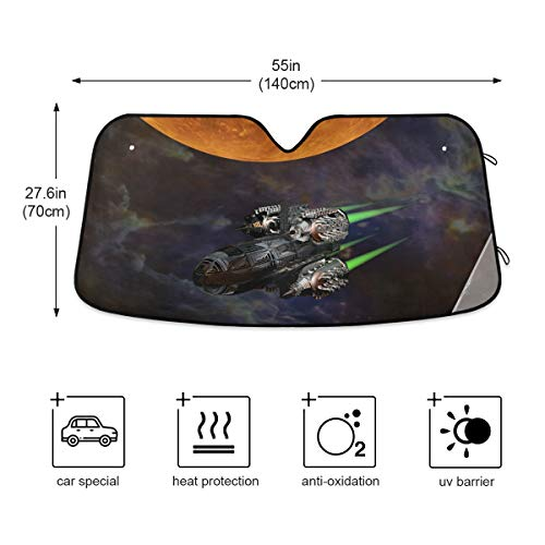 Car Windshield Sun Shade - Science-Fiction Sun Visor Protector, Sunshade To Keep Your Vehicle Cool And Damage Free, Easy To Use, Fits Windshields of Most Sizes(803e)