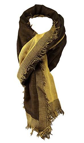 TigerTie sjaal in oker goudkleurig donkerbruin effen met kleine franjes - maat 180 x 50 cm.