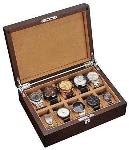 THj Reloj de 6 Ranuras Caja de Reloj de joyería Cubierta de Vidrio Pantalla Caja de Almacenamiento Bandeja de Pulsera Exhibición/Reloj Superior de Vidrio Moda