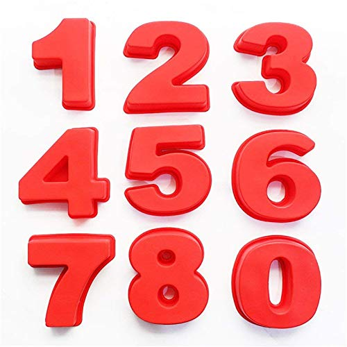 Large 3D Numbers Cake Molds Silicone Baking Pans for Birthday and Anniversary, Include Number 0 1 2 3 4 5 6 7 8 9, Pizza Pan Baking Cake Bread Kitchen DIY Mould (All)