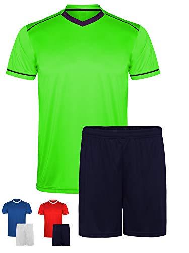 GO HEAVY Herren Fussballtrikot Lauftrikot Set aus V-Ausschnitt T-Shirt + Shorts | Trainingstrikot Gymbekleidung Atmungsaktiv | Neon Grün/Blau L