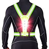 ANCROWN LED Reflective Running Vest, High Visibility Warning Lights for Runners, Adjustable Elastic Safety Gear Accessories for Men/Women Night Running, Walking, Cycling/Biking