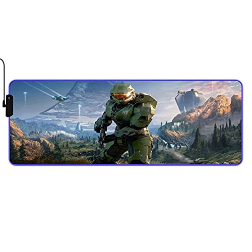 Halo Master Chief Led Mouse Pad Gaming Large for Laptop RGB Anti-Slip XL Desk Mat for Desktop 31.5x11.8 Inches