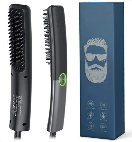 Bartglätter Kamm für Männer, Lidasen Elektrischer Haarglätter Bart Bürste Schnelle Sichere Einstellbare Temperatur bis zu 200°C, 2 in 1 Prämie Ionischer Bürste für Haar und Bart Glätteisen