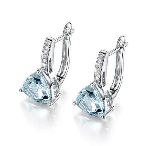 Beydodo Pendiente de Mujer Plata Azul Claro,Pendientes de Oro Blanco 18 Kilates Triángulo con Diamante Aguamarina Azul Claro 1.76ct