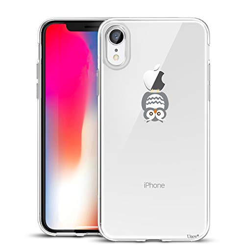 Unov Case Compatible with iPhone XR Case Clear with Design Slim Protective Soft TPU Bumper Embossed Pattern 6.1 Inch (Owl)
