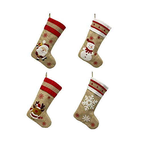 JIAL 4PS Weihnachtsdekorationen Santa Schneemann Elch Strümpfe Weihnachten Flachs Strumpf Baum Anhänger Socken Geschenk Tasche Frohe Weihnachten Chongxiang