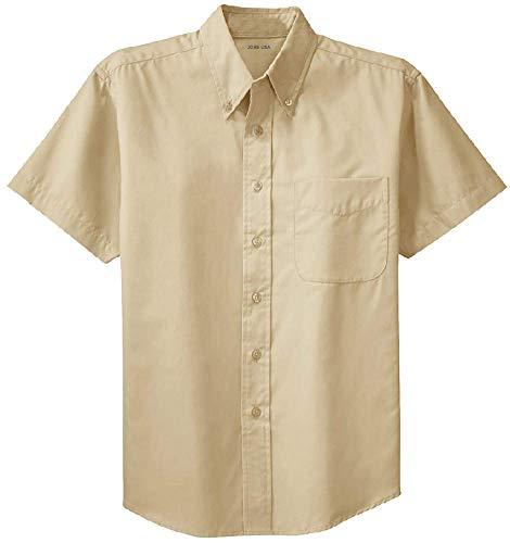 Joe's USA TM - Men's Short Sleeve Wrinkle Resistant Easy Care Shirts,Stone/Stone,Regular Large (41-43)