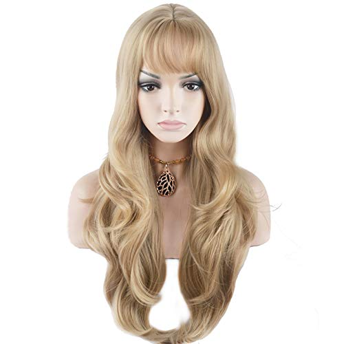 BERON 27.5'' Fashion Women Girls Long Curly Wavy Synthetic Wig with Air Bangs Wig Cap Included (Linen Gold)