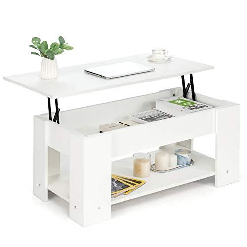 COSTWAY Couchtisch höhenverstellbar, Sofatisch mit Ablagefach, Beistelltisch aus Holz, Kaffeetisch Teetisch für Wohnzimmer Balkon Flur (Weiß)