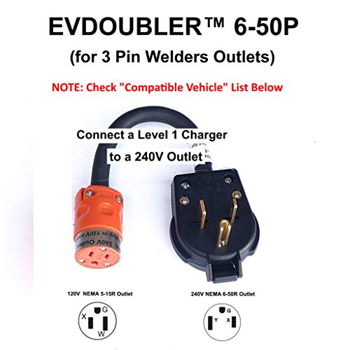 Fits Hyundai Ioniq Sonata Kona. The Amazing EVDOUBLER is a Low Cost Upgrade Adapter, Just Plug it in, Charges Fast Like a Level 2 Electric Vehicle Car EVSE Charger. Needs a NEMA 6-50 Outlet
