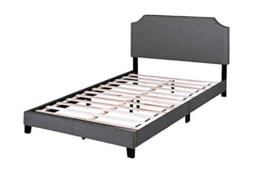 Upholstered Platform Bed Frame, Mattress Foundation, Wood Slat Support, No Box Spring Required, with Nailhead Trim Headboard, Dark Grey, Queen Size