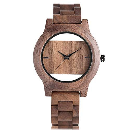 DZNOY Holzuhr Einzigartig hohl Zifferblatt Männer Frauen Natur Holz Uhr mit Vollholz Bambus Armreif Quarz Armbanduhr Neuartige handgefertigte Uhr Geschenke Artikel Taschenuhr (Farbe: Kaffee)