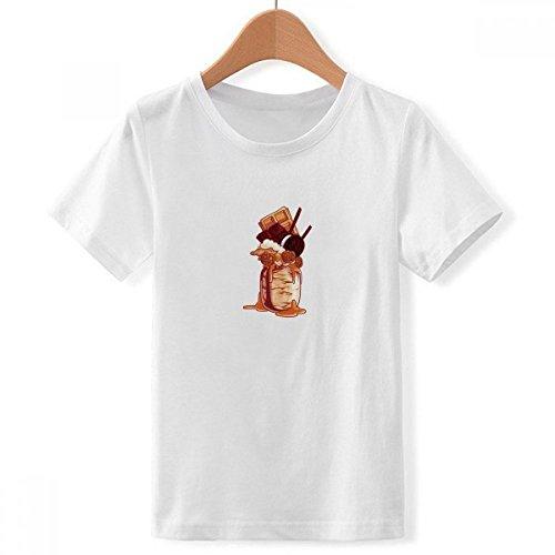 DIY thinker jongens biscuits chocolade fles ice cream met ronde hals wit T-shirt