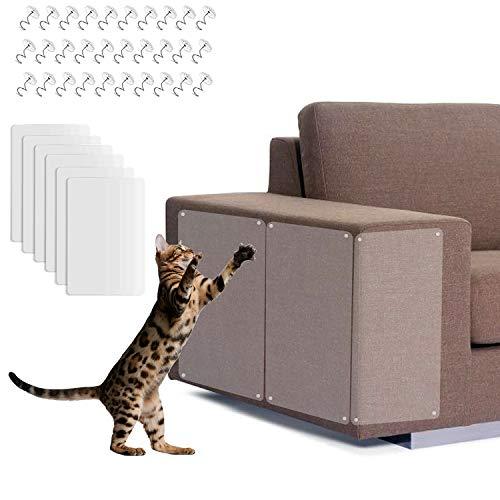 WELLXUNK Protezione Graffi Gatto,6PCS 30CM x 40CM Protezione per mobili Cat Scratch,Autoadesive Trasparente PVC Anti-Graffio Protector per Gatti e Cani con 30 Viti Protezione per Divano e mobili