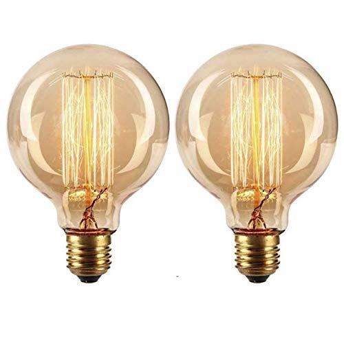 Vintage Edison Light Bulbs 40W E27 ES Retro Edison Screw Bulb Dimmable Filament Light Bulb Old Fashioned Style Globe Bulb, 2 Pack