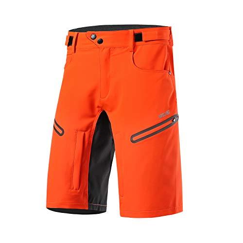 Arsuxeo - Pantaloncini da ciclismo da uomo, vestibilità larga, con cintura traspirante, Uomo, Arancione, S