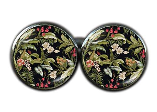 Style victorien Floral Boutons de manchette, Noir Art Fleur Boutons de manchette, imprimé floral Boutons de manchette