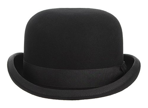 GEMVIE Black Derby Hat 100% Wool Theater Quality Hat Bowler Hat for Men Women Vintage Costumes, S:55cm - 6 7/8