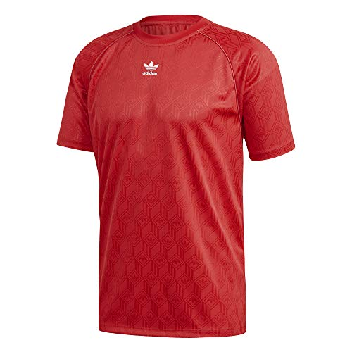 adidas Herren T-Shirt Mono Jersey POL, Lush red/White, L, FM3405