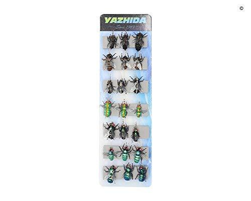YZD Realistic Fly Fishing Flies Set Dry Fly Mosquitos Set of 21 Flies Handmade Rainbow Trout Fishing Lure kit Flyfishing