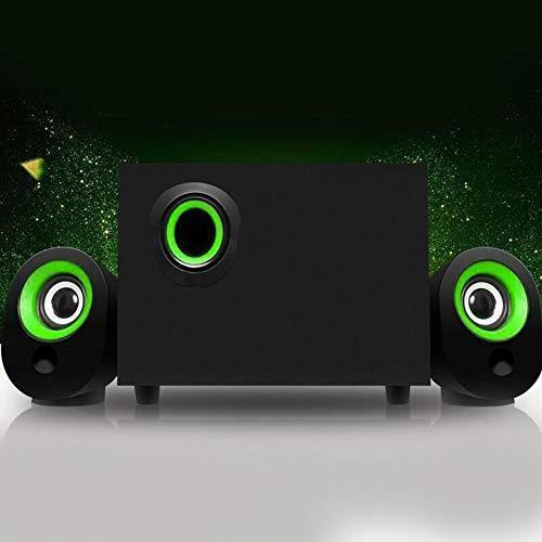 Vipxyc Multimedia USB Speaker USB Mini Speaker Computer Speaker Powered Stereo Speaker System with Bass Technology for Laptops and PC or TV(Green circle black)