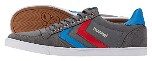 hummel Unisex-Erwachsene Slimmer Stadil Low Sneakers, Grau (Castle Rock/Ribbon Red/Brilliant Blue), 48 EU (12.5 Erwachsene UK)