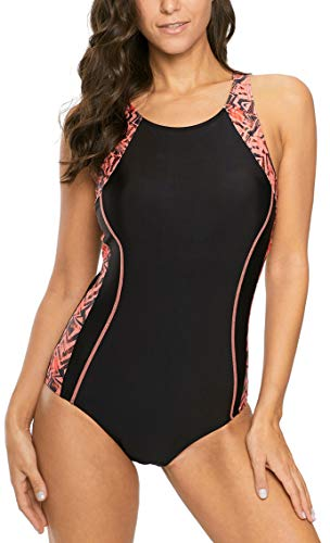 beautyin Women Racing Sport one Piece Swimsuit Chlorine Resistant Swimwear