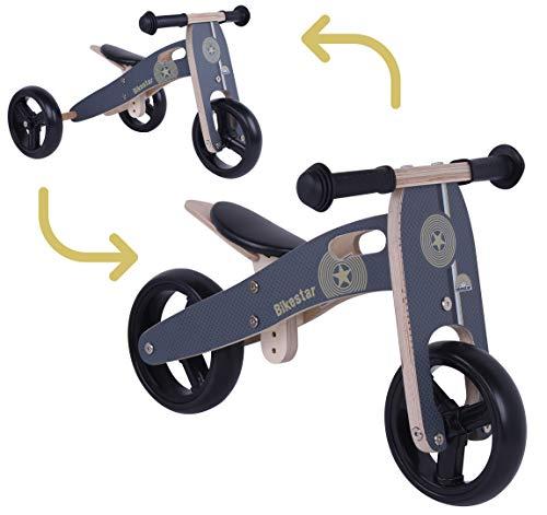 BIKESTAR Mini Kinder Laufrad Holz Lauflernrad mit DREI Rädern für Jungen und Mädchen ab 1 – 1,5 Jahre | 2 in 1 Kinderlaufrad | Schwarz | Risikofrei Testen
