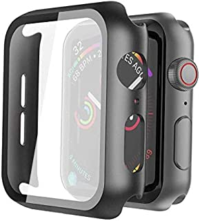 Black Hard Case Compatible with Apple Watch Series 5 Series 4 40mm with Screen Protector, Ultra Thin Hard PC Case Slim Tem...