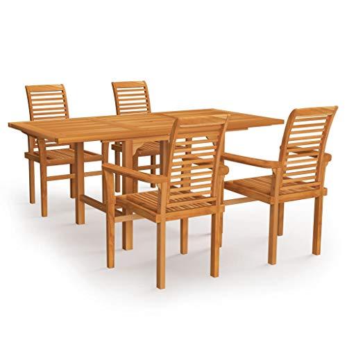 vidaXL Madera Maciza de Teca Conjunto de Comedor de Jardín 5 Piezas Muebles Exterior Cocina Terraza Hogar Silla Mesa Asiento Suave con Respaldo