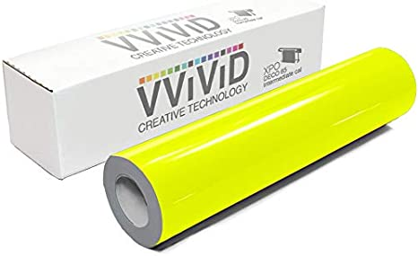 "1 Roll Fluorescent Vinyl Yellow  24/"" x 1 Feet  Free Shipping Total  9.99"