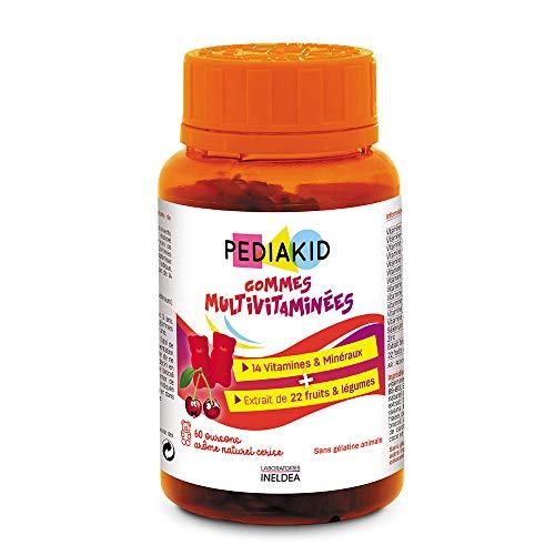 PEDIAKID - Gommes Multivitaminées - Formule Naturelle au Délicieux Arôme de Cerise - Contribue à la Réduction de la Fatigue - Soutient les Défenses Naturelles de l'Organisme - 60 gommes