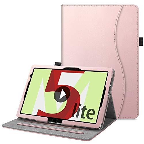 Fintie Hülle für Huawei MediaPad M5 Lite 10.1 - Kunstleder Multi-Winkel Betrachtung Schutzhülle mit Dokumentschlitze, Auto Schlaf/Wach Funktion für Huawei M5 Lite 10,1 Zoll 2018,Roségold