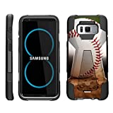 TurtleArmor   Compatible for Samsung Galaxy S8 Case   G950 [Dynamic Shell] Dual Hybrid Hard Impact Silicone Cover Kickstand Sports and Games Design - Baseball Dirt