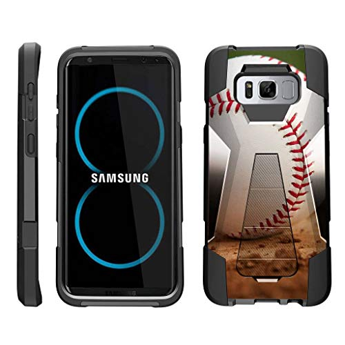 TurtleArmor | Compatible for Samsung Galaxy S8 Case | G950 [Dynamic Shell] Dual Hybrid Hard Impact Silicone Cover Kickstand Sports and Games Design - Baseball Dirt