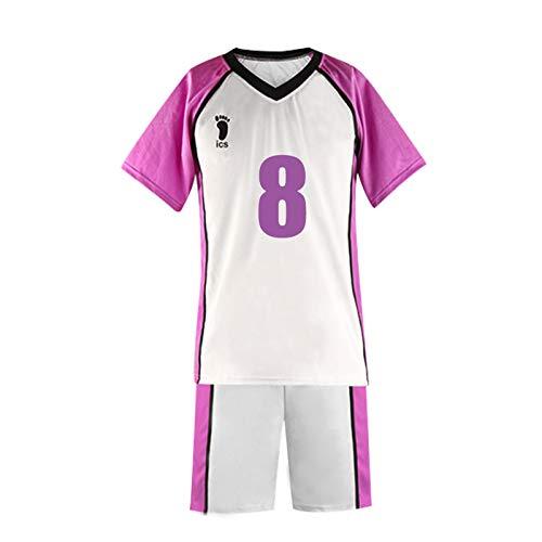 YZJYB Cosplay Goshiki Tsutomu Camiseta De Manga Corta para Hombre Adulto Anime Haikyuu Shiratorizawa High School Volleyball Sportswear Disfraz,XX~Large