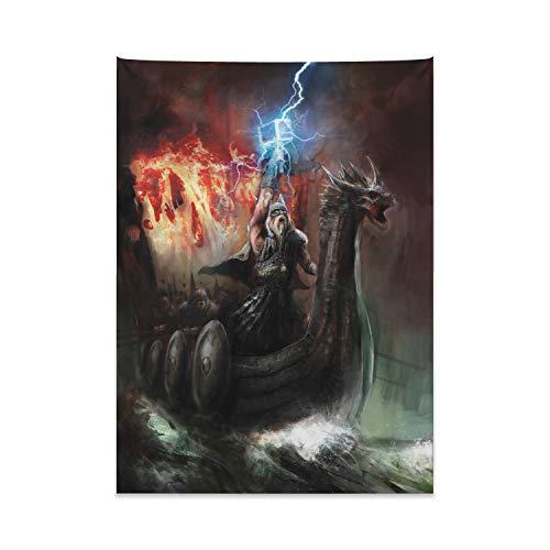 ABAKUHAUS Dragón Tapiz de Pared y Cubrecama Suave, Ira Imaginaria de Antigua Figura Vikingos Barco Real Cabeza de Dragón Tormenta Rayos, Lavable Colores No Destiñen, 110 x 150 cm, Multicolor