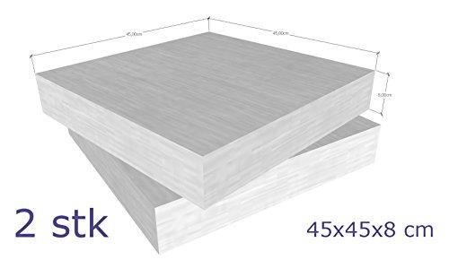Schaumstoff Platten Set 2 Stück a 45 x 45 x 8 cm sehr feste und langlebige Qualität (RG40 SH60)