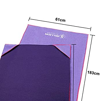 5BILLION Serviette de yoga en microfibre pour tapis - 183 × 61 cm - Serviette de yoga chaude Bikram, Serviette de yoga Ashtanga - Non glissante, Super absorbant - Sac de transport gratuit