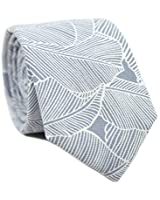 DAZI Men's Skinny Tie Floral Print Cotton Necktie, Great for Weddings, Groom, Groomsmen, Missions, Dances, Gifts. (Palm)