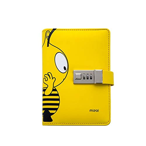 Durable Digital Password Notebook Leather Binder Journal Personal Diary Multi-Functional Card Slot Notepad Student Cute Handbook A6 Exquisite Gift (Color : Yellow)
