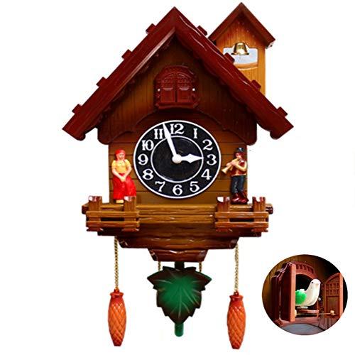 YAOBAO Reloj De Cuco,Reloj De Cuco del Bosque Negro Plástico,Pareja De Dibujos Animados/Movimiento Silencioso Reloj De Pared para La Decoración De La Oficina De La Cocina De La Habitación