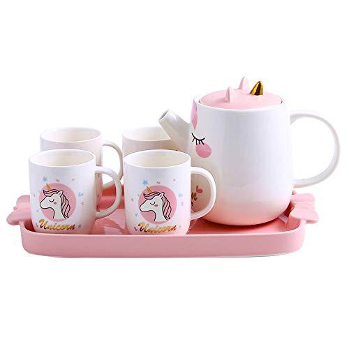 TASHELLS Pink Unicorn Tea set, Ceramic Teapot Set for Girls' Afternoon Tea Party, Cute and Sweet Porcelain Tea Gift Set for Women or Girls, 1 Tea Pot, 4 Tea Cups, 1 Tea Kettle Tray