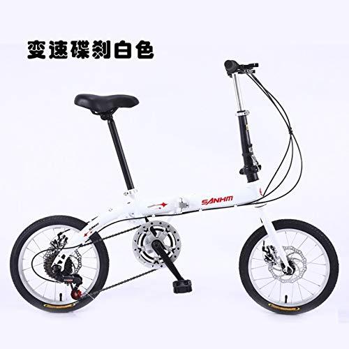 Mdsfe Bicicleta Plegable portátil de 16 Pulgadas para Hombres y Mujeres Bicicleta de Freno de Disco de Velocidad Variable para Estudiantes Adultos - Blanco Velocidad Variable, 16 Pulgadas