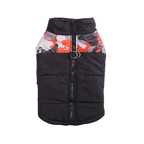Qyeeypoc Huisdier Winter Warm Hond Jas, Ski Suit, Half Camouflage Met Rits Gecapitonneerde Jas, Hond Jas, S